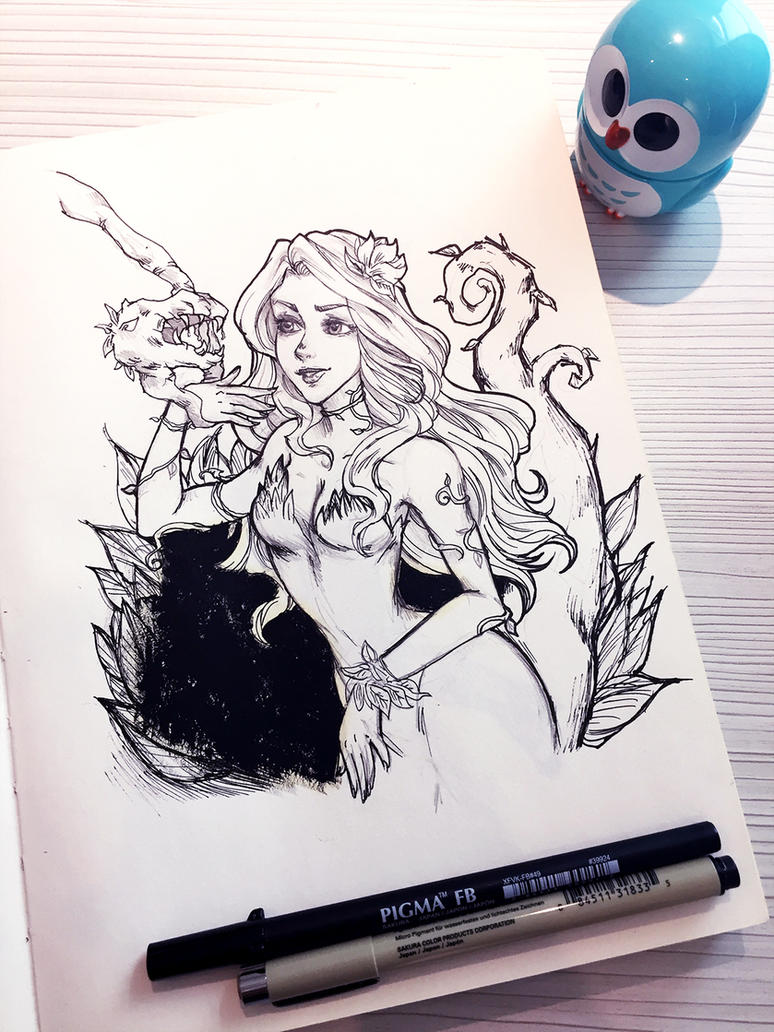 Inktober 01 (2016): Poison Ivy by li-jean