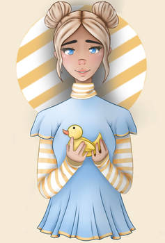 Girl with rubber duck digital