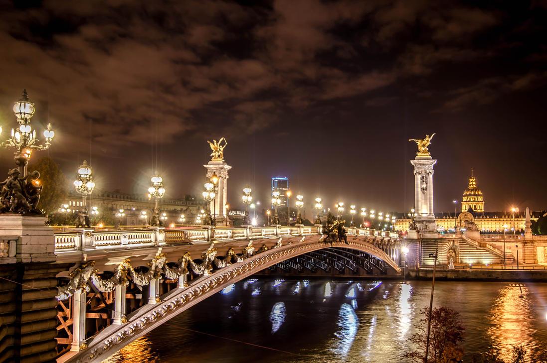 Alexader bridge at night in Paris France