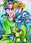 #46 Mermaid and Turtle by kalexandrina