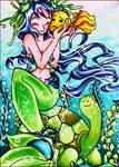 #46 Mermaid and Turtle by kalexandrina