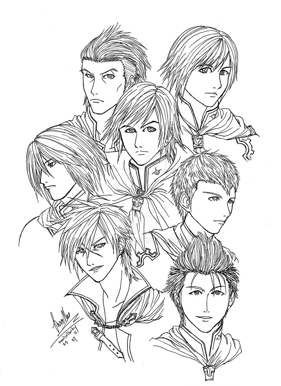 Final fantasy type 0 boys by zellmard on deviantart for Final fantasy coloring pages