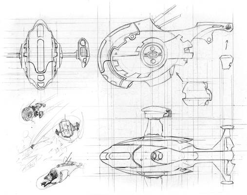 Cat and Mouse minicomic - Spaceship concept