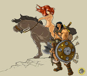 Barbarian And Nude Babe by BongzBerry
