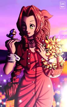 FFVII: Aerith tending her flowers.