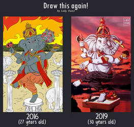 Draw it again: Lord Ganesha. 2016 vs 2019!