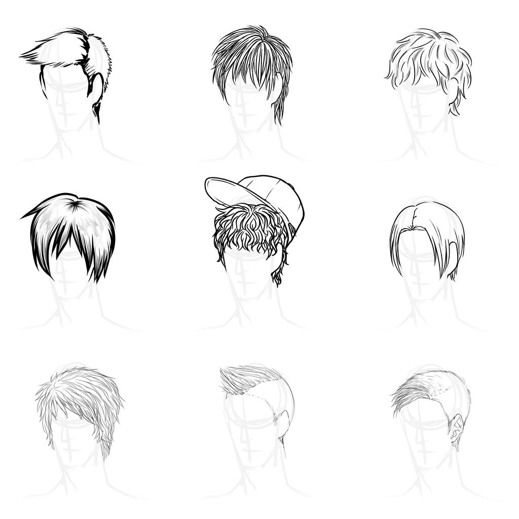 Anime Hairstyles By Gleamingshadows On DeviantArt - Hairstyle boy drawing