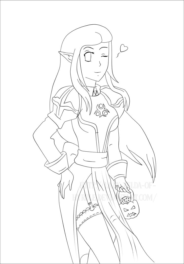 Line Art Zelda : Halloween high priest zelda by lady of hyrule on