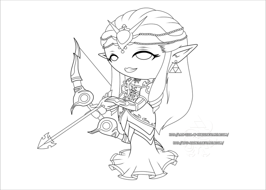 Chibi Queen Zelda - Lines by Lady-Zelda-of-Hyrule