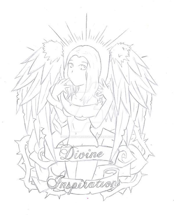 Line Art Inspiration : Divine inspiration line art by hellborn prodigy on deviantart