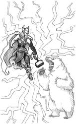 Lady Thor vs polar bear by castiboy