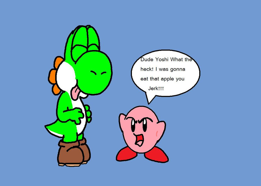 Yoshi and Kirby Art Trade by Awko-Talko