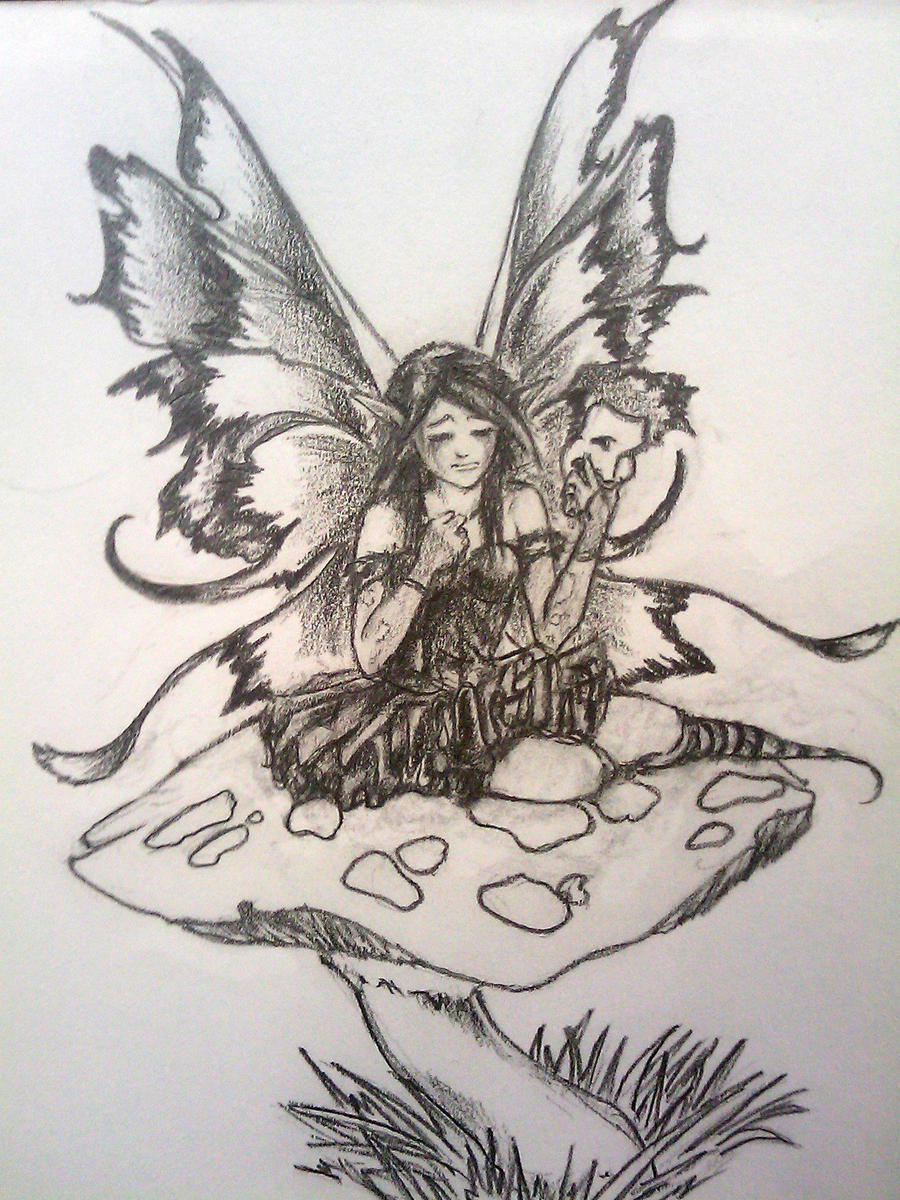 Fairy tattoo design by faustob on deviantart for Fairy on a mushroom drawing