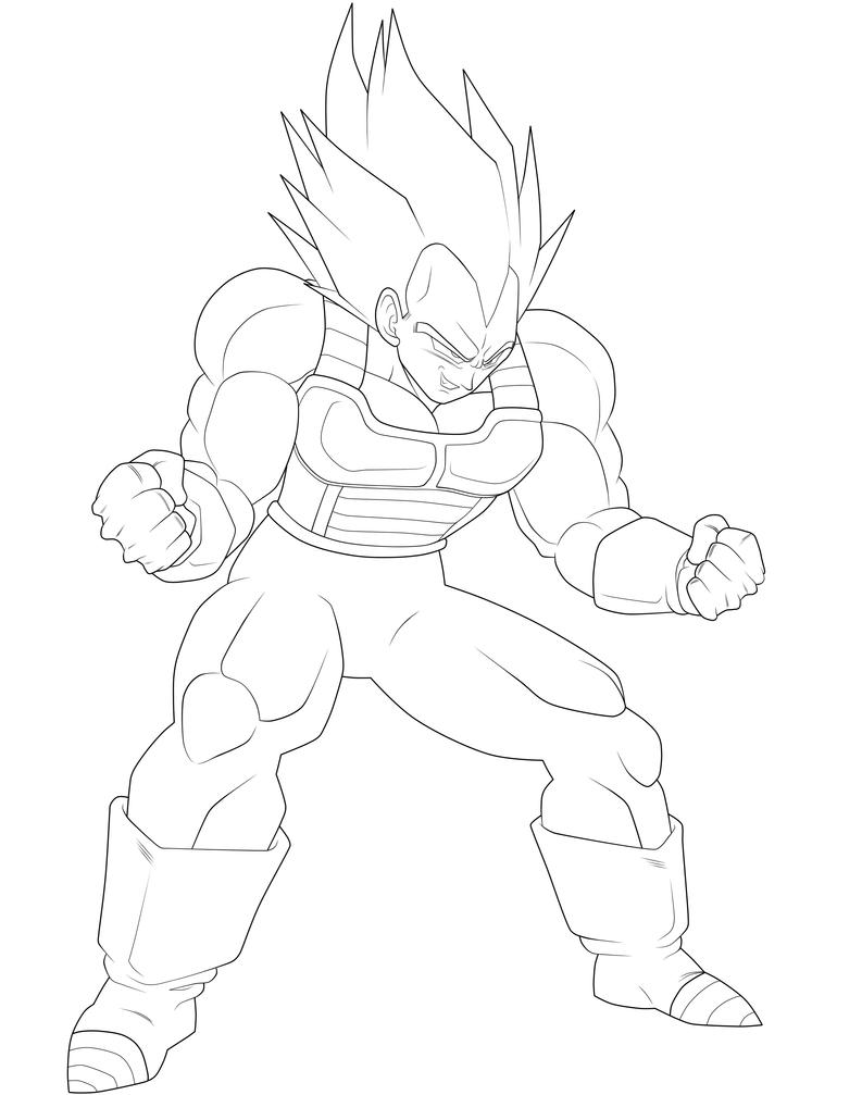 Super vegeta lineart by moxie2d on deviantart for Vegeta coloring pages