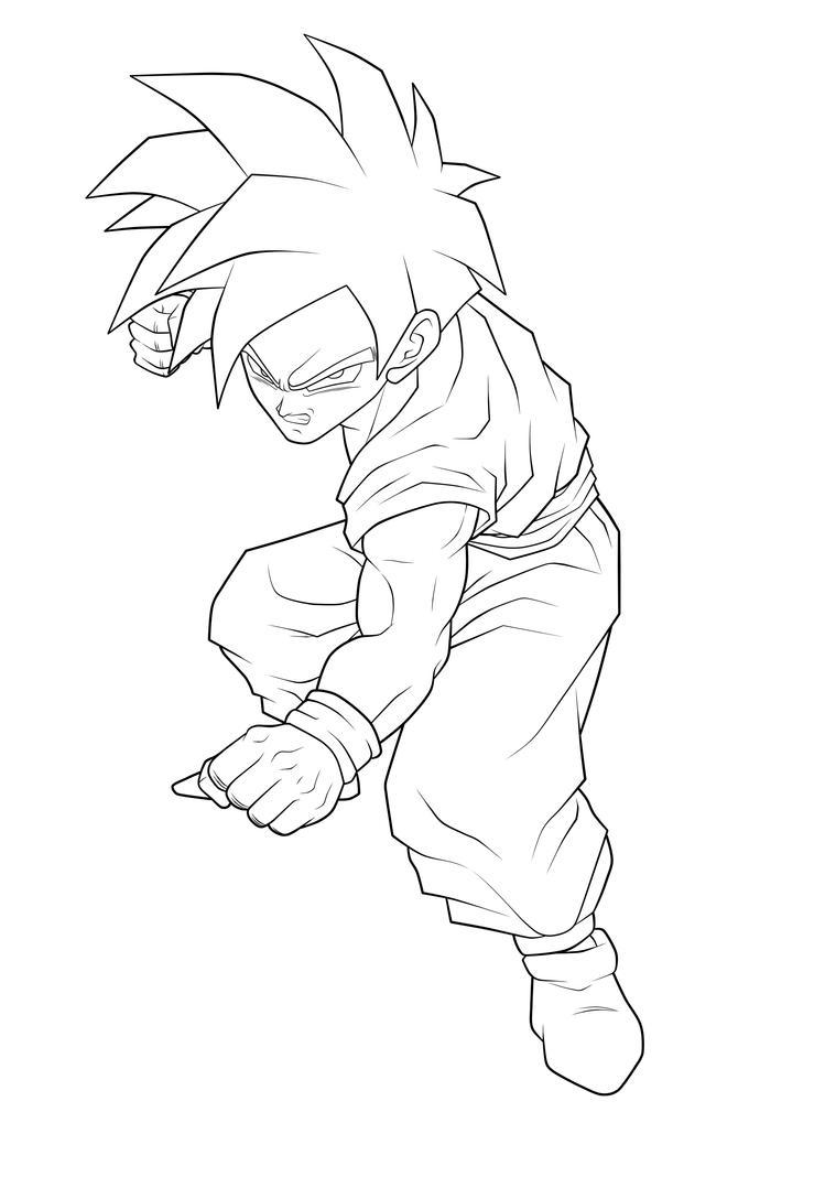 Super saiyan gohan lineart by moxie2d on deviantart for Super saiyan coloring pages