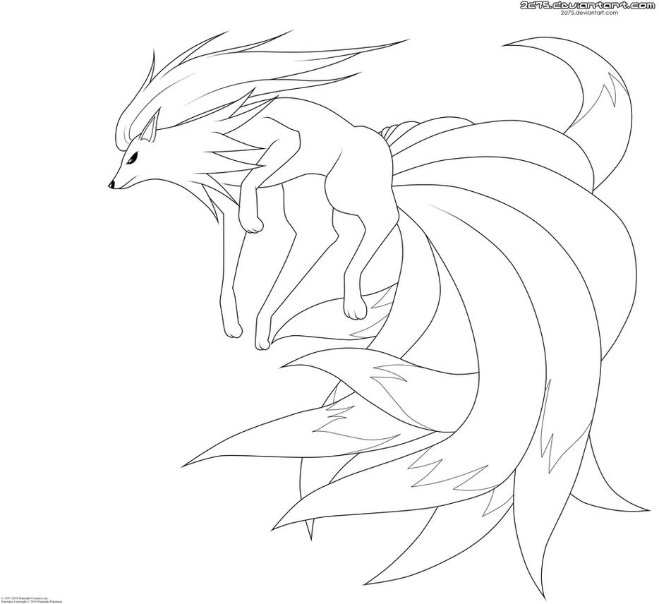 Ninetales. :Lineart: by moxie2D on DeviantArt