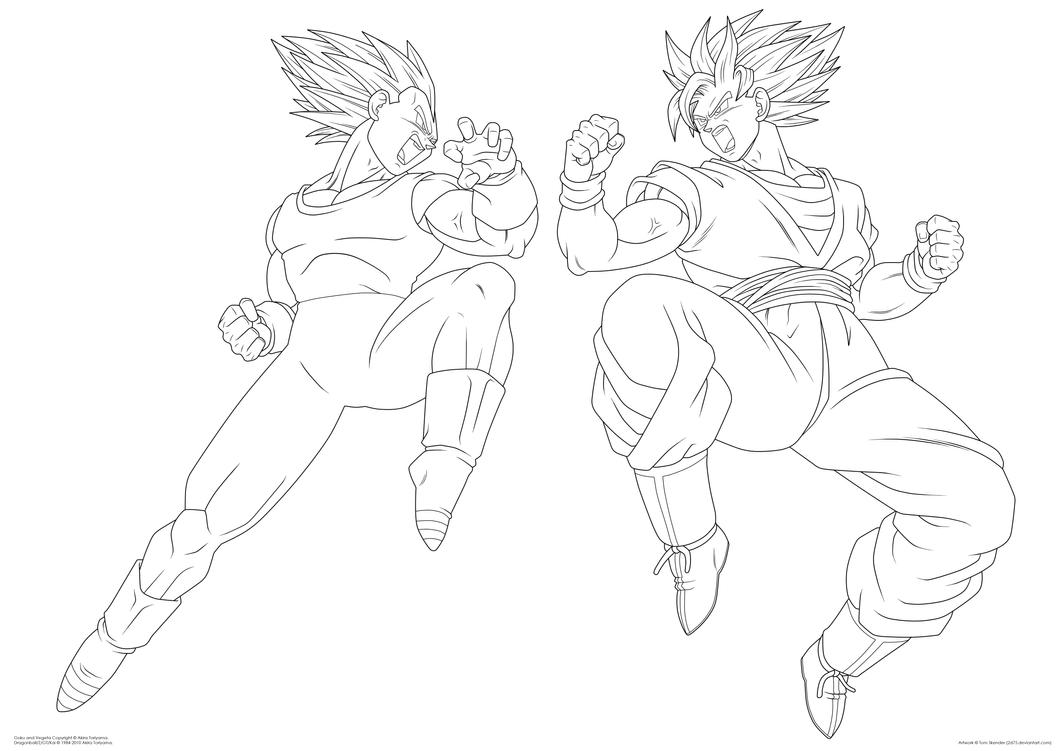 Goku and Vegeta Lineart by moxie2D on DeviantArt