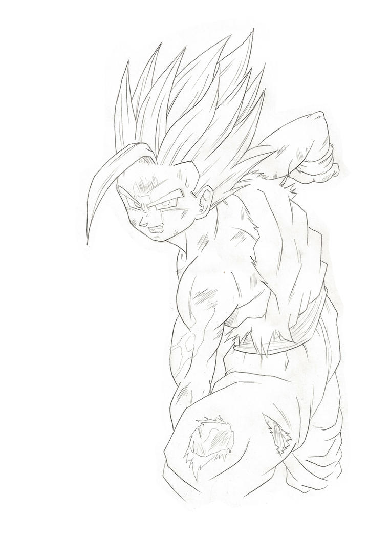 how to draw gohan super saiyan 2 step by step