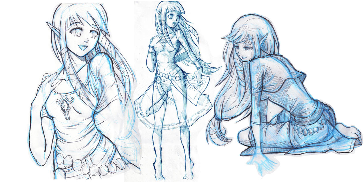 Skyward: Zelda Sketches by moxie2D