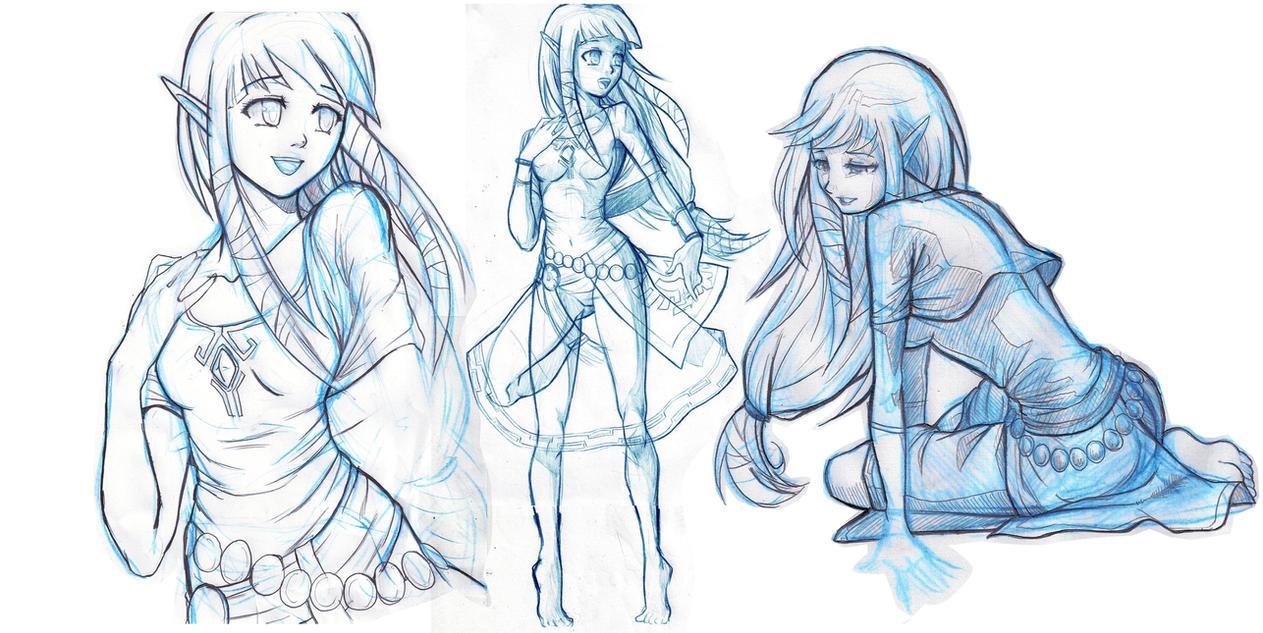 Skyward: Zelda Sketches by moxie2D