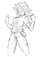 SSj Yuki :Commish Sketch: by moxie2D