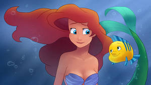 Ariel and Flounder by moxie2D