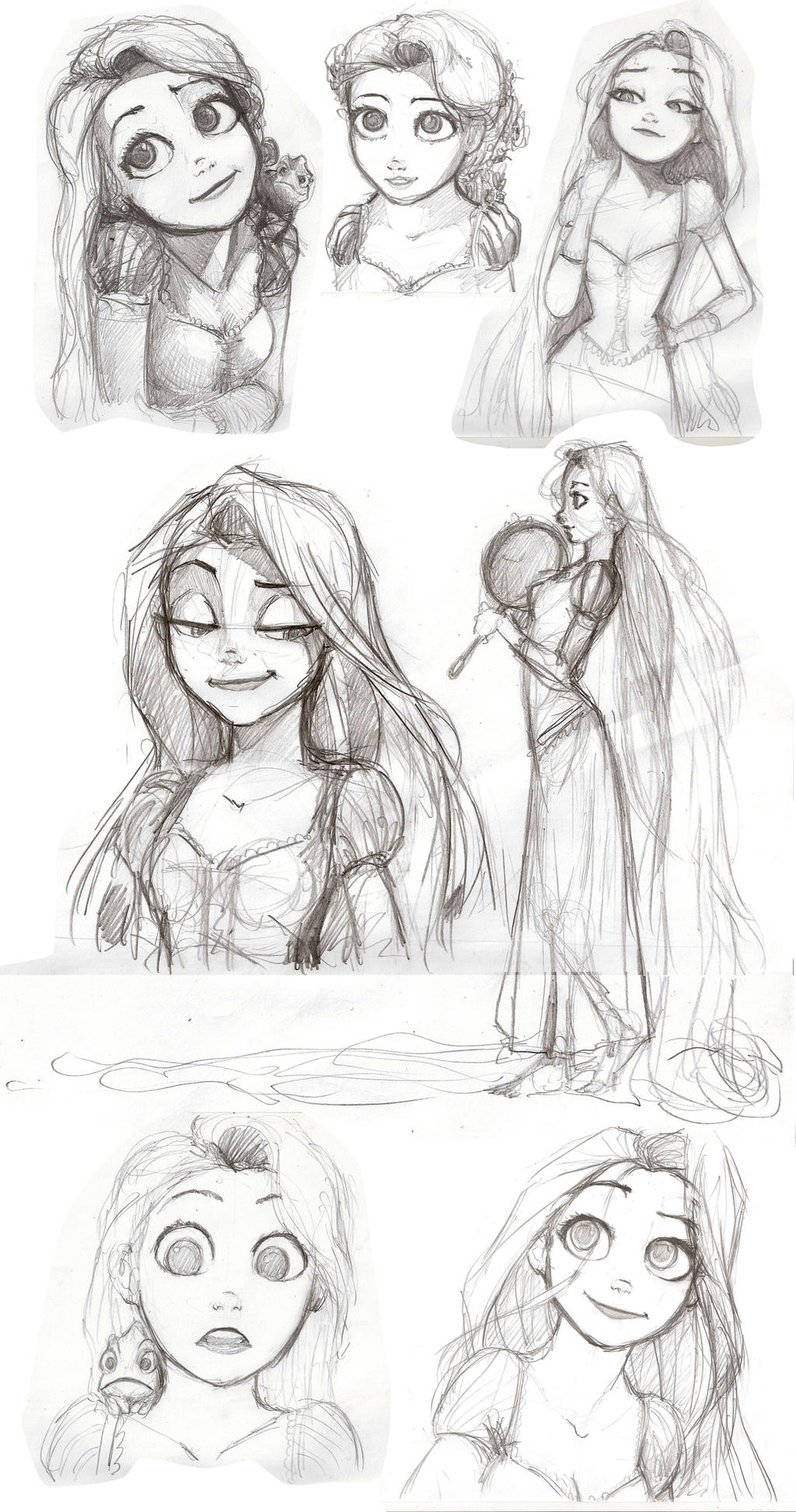 Tangled Rapunzel Drawing Tumblr Sketch Coloring Page
