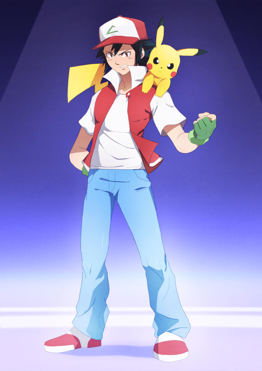 Ash and Pikachu :Commission: by moxie2D on DeviantArt