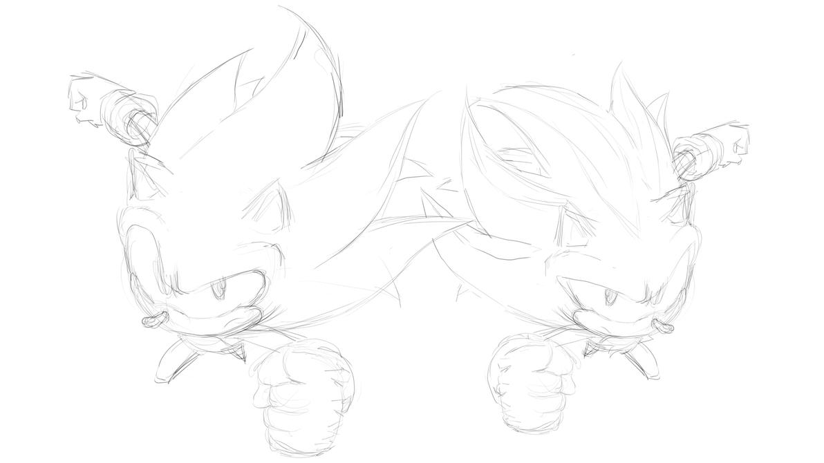 Super Sonic and Super Shadow Sketch by moxie2D on DeviantArt