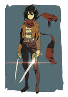 Day 9   Mikasa Ackerman by moxie2D