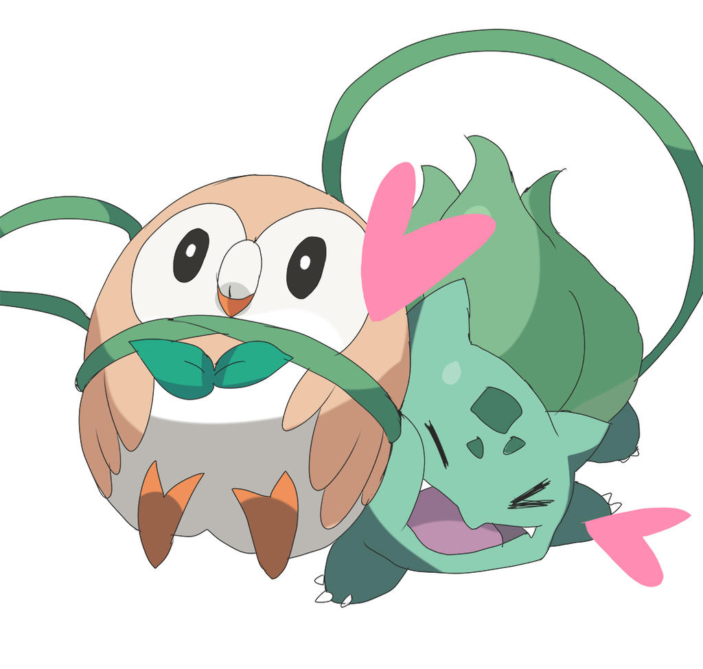 Rowlet and Bulbasaur by moxie2D