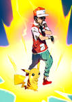 Trainer Red and Pikachu Z Move