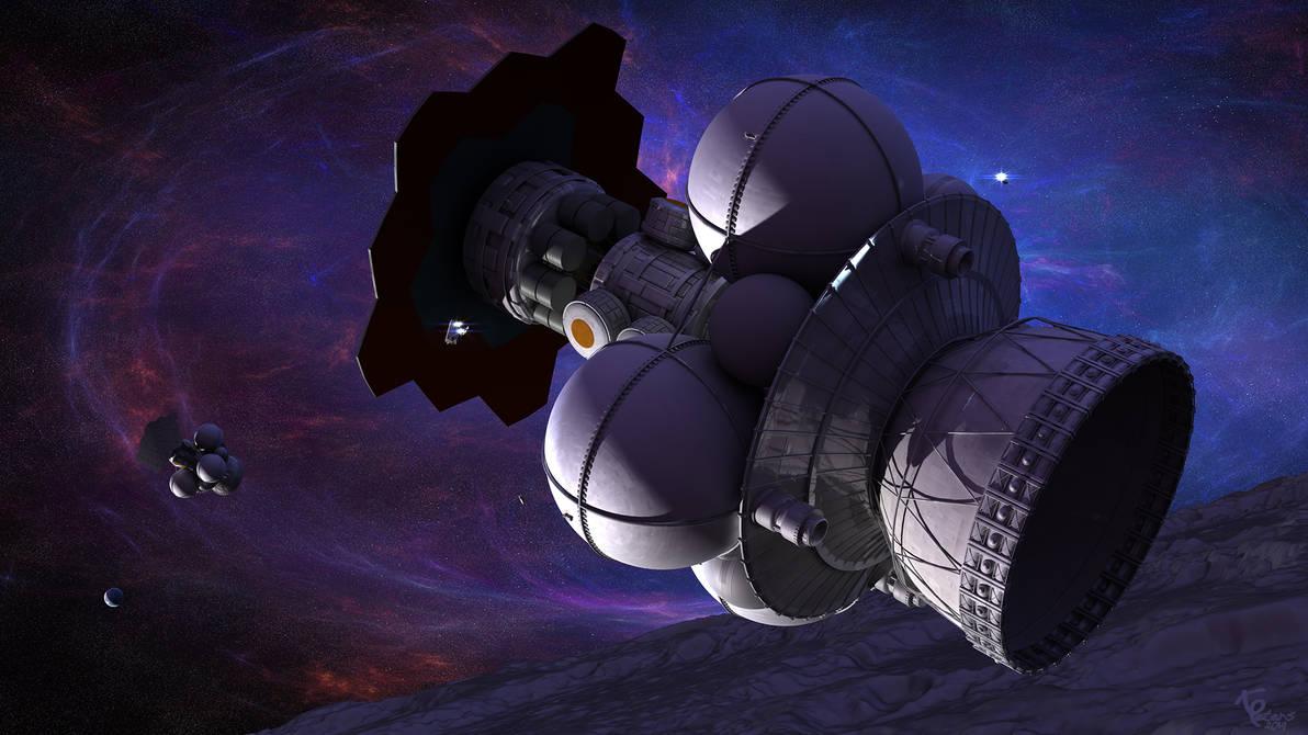 Nuclear Pulse ships in orbit
