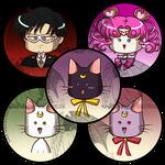 Sailormoon Buttons Cats, Tux n Chibichibi