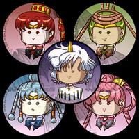 Sailormoon Buttons Amazonian Senshi Ellios by kuroitenshi13