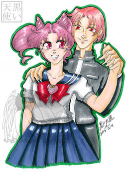 Commission Traditional Chibiusa and her Bro