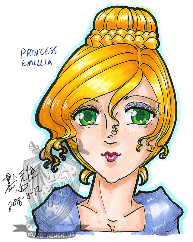 Traditional Princess Emillia by kuroitenshi13