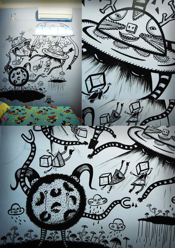 MURAL--ufo in my room-- by CoKolate