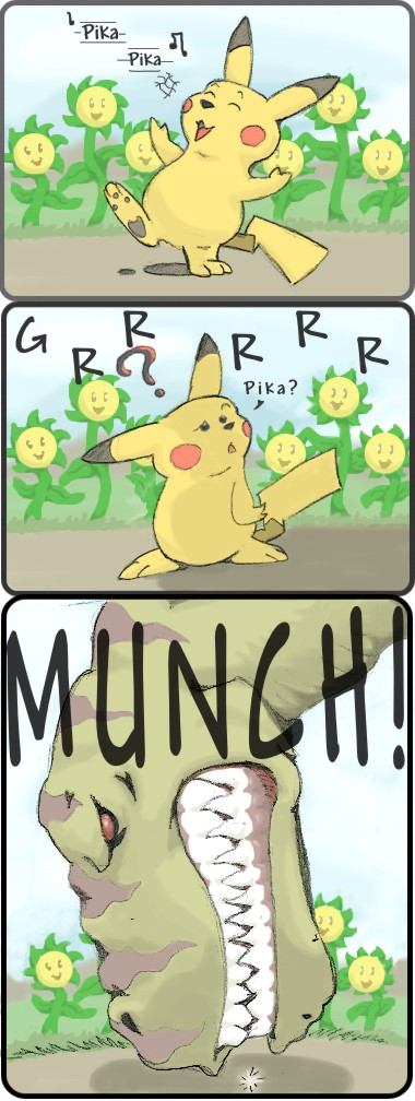 Pikachu Meets TREX by saepenon