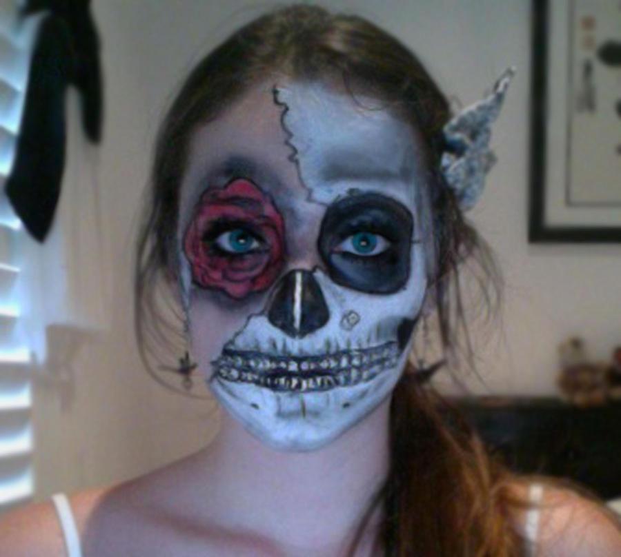 Half Skull face painting by audreydoesstuff