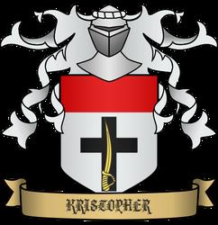 Kristopher Heraldry - Argent, cheif gules, base cr