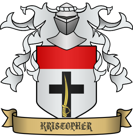 Kristopher Heraldry - Argent, cheif gules, base cr