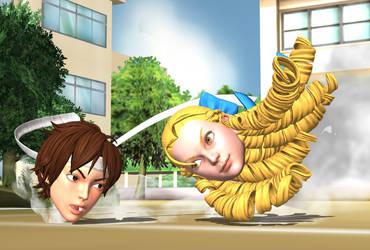 Schoolyard headbutt brawl (Request) by DangerEngineer