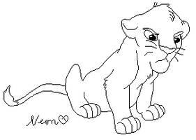 Grumpy little lion lineart by xXNeon-HeartXx