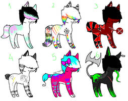 Unnatural Colored Adopts by xXNeon-HeartXx