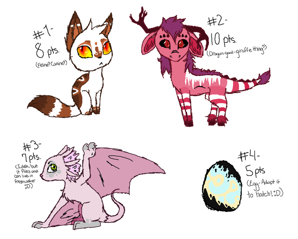 Yayyy Adoptables -ALL SOLD- by xXNeon-HeartXx