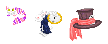 Alice in Wonderland misc. Pixels~ by xXNeon-HeartXx