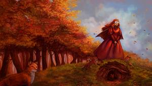 Gift - La dame aux renards by Vaelyane