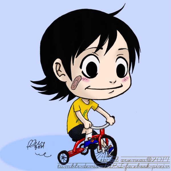 kid midousuji on a three wheeled bike by mazoku-chan