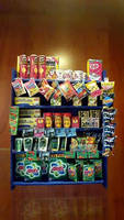 Glass Display Cabinet with Groceries